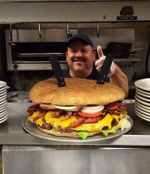 Mallie's 10 Lb Burger! Photo: Mallie's