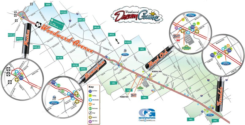 Woodward Dream Cruise Map