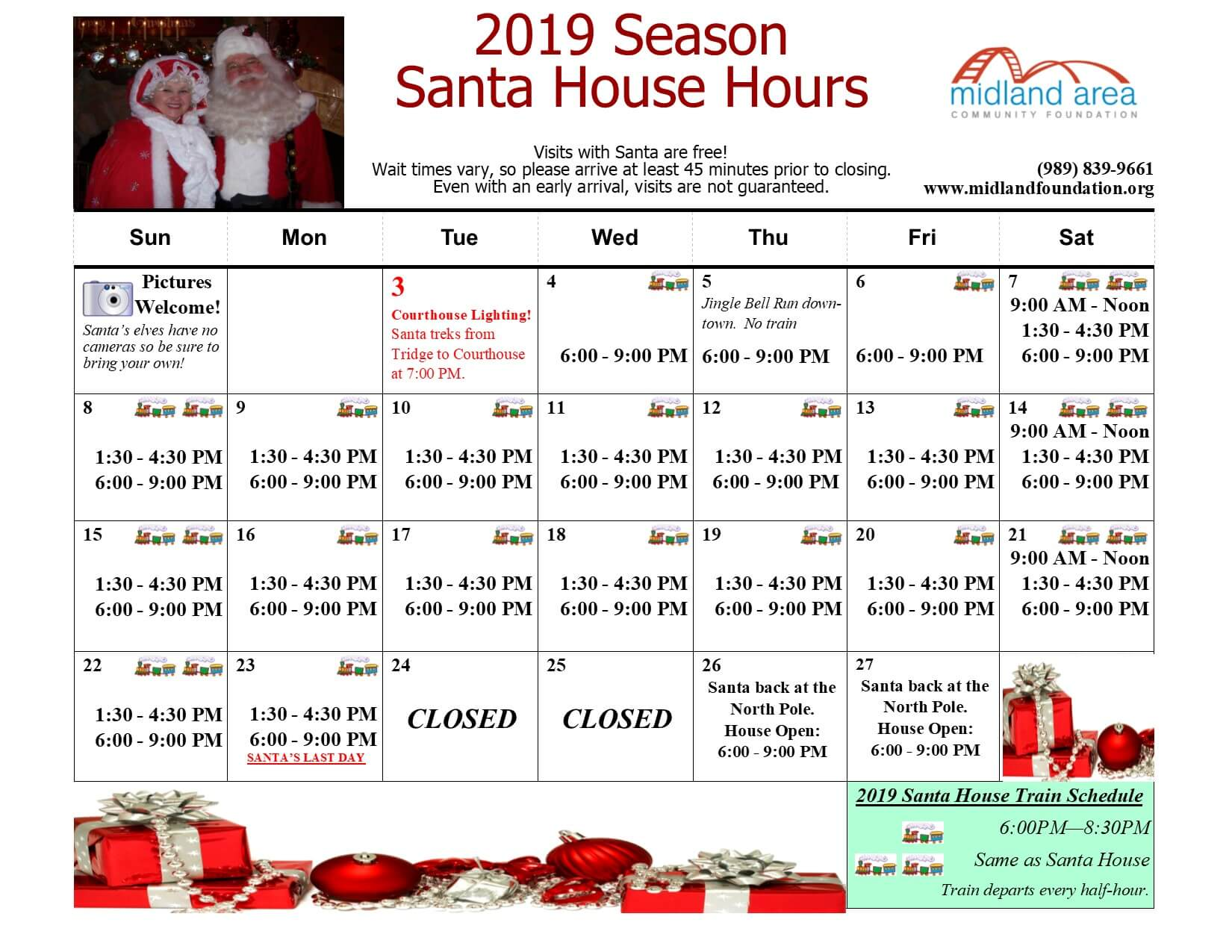 Midland Michigan Santa House and Northern Star Train Schedule