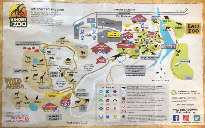 Binder Park Zoo Map, Battle Creek, Michigan