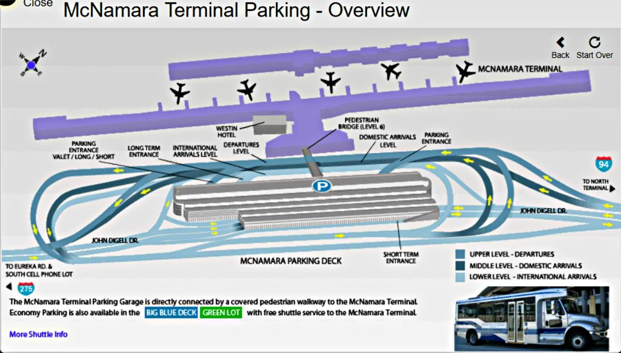 Detroit Airport Parking Map-McNamara Terminal