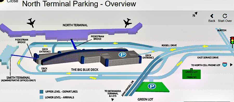 Detroit Airport Parking Map-North Terminal (Big Blue Deck)