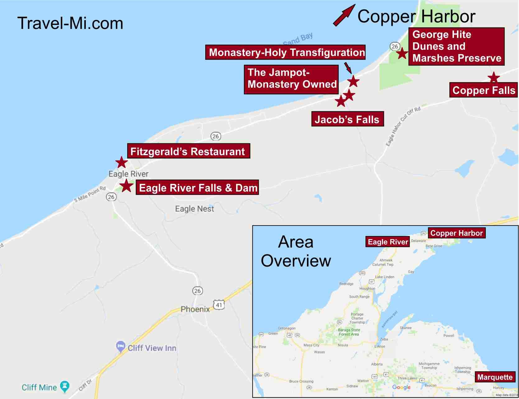 Copper Harbor and Eagle River Michigan Map