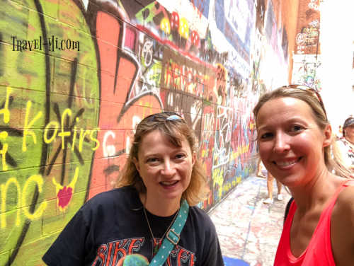 Jenny and I visiting Graffiti Alley