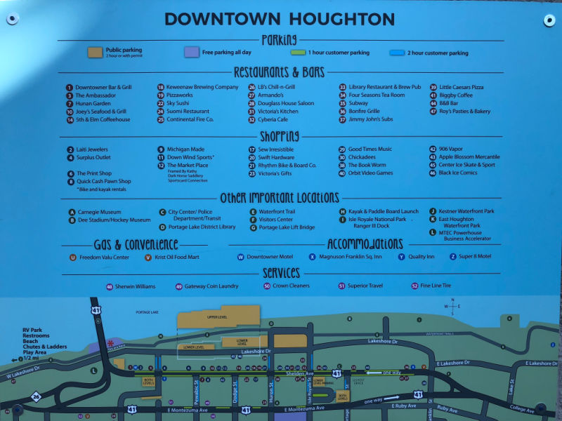 Houghton Michigan Map of Restaurants, Things to Do and Shopping