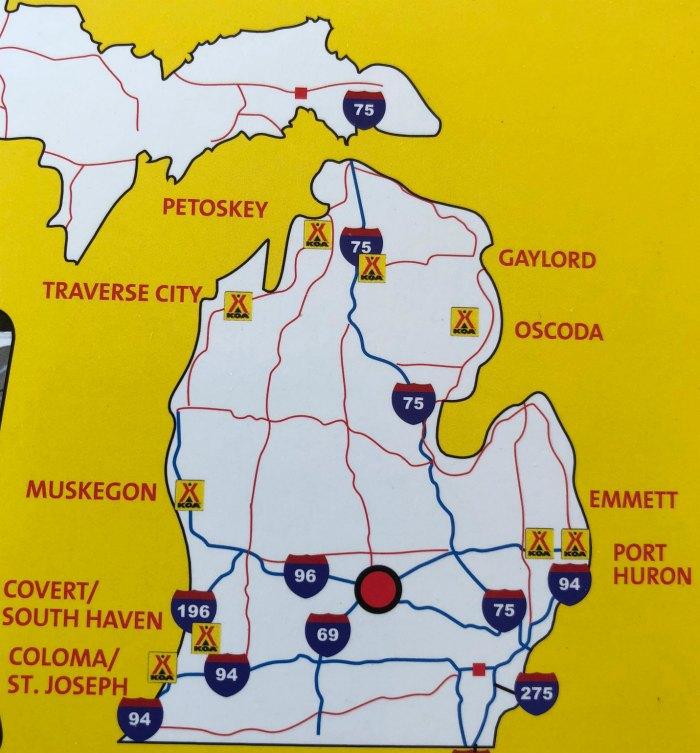 Map of Michigan KOA Campgrounds