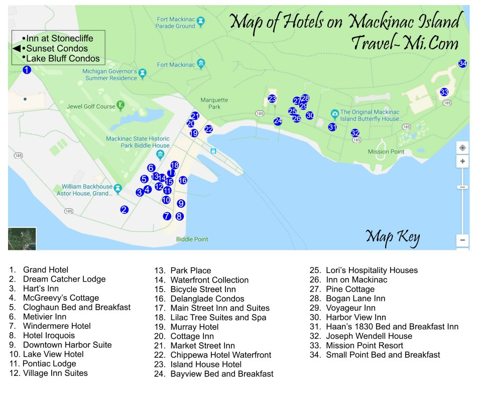 Mackinac Island Hotels Map | 2018 World's Best Hotels on lake huron map, grand rapids map, michigan map, ottawa island map, crespo island map, somerset island map, isle royale map, saint joseph island map, ionia island map, lawrence island map, douglas island map, great lakes map, bois blanc island map, traverse city map, mackinaw city map, tahquamenon falls map, lake island map, drummond island map, raspberry island map, st. louis island map,