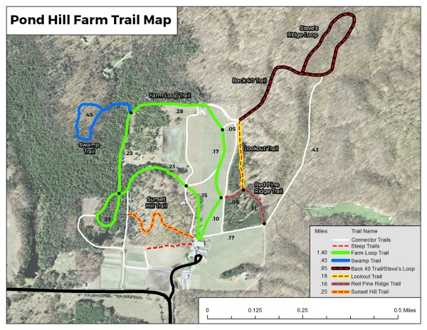 Pond Hill Farm Trail Map, Harbor Springs, MI