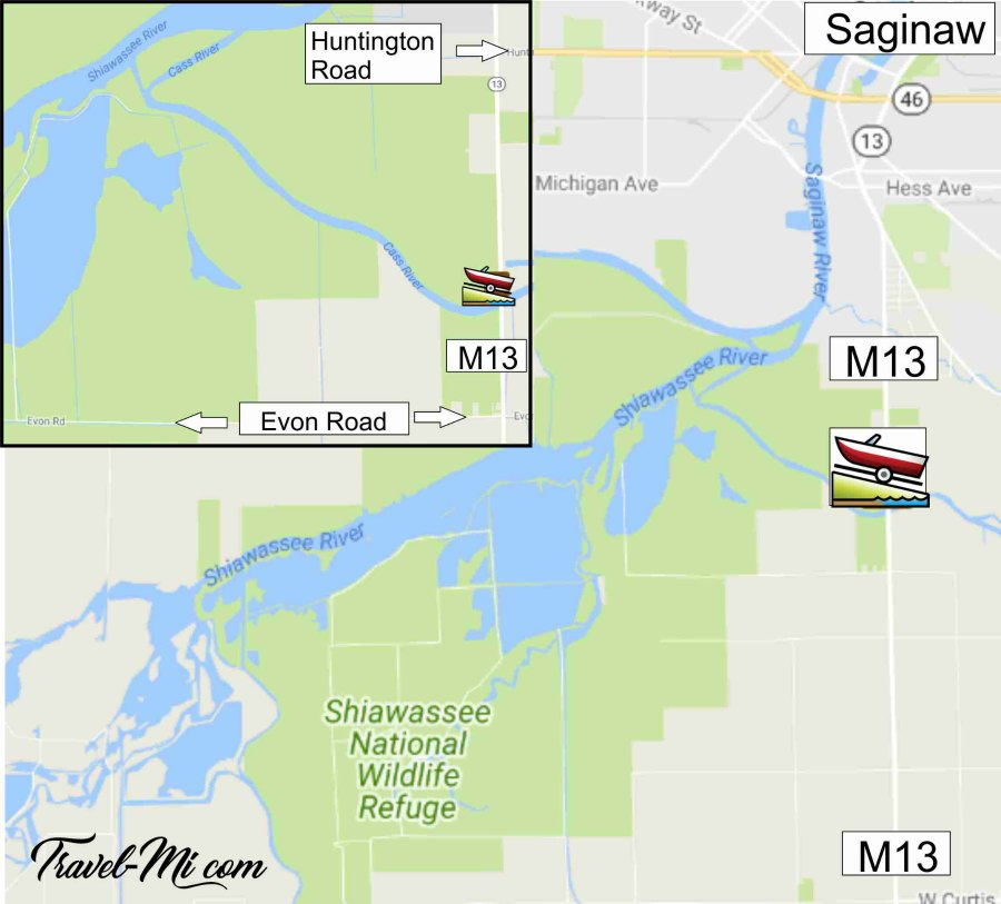 Kayaking the Shiawassee National Wildlife Refuge Launch Map