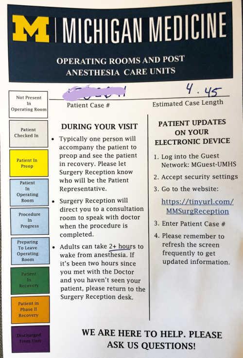 University of Michigan Surgery Progress Website and Paperwork