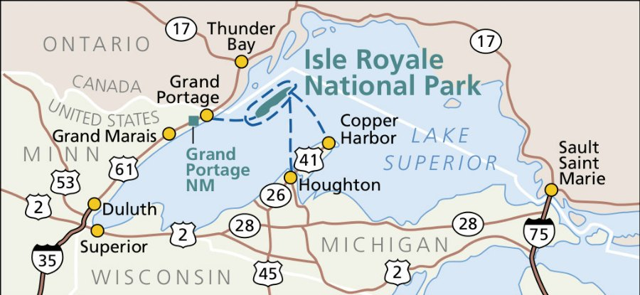 Isle Royal Map of Departure Points