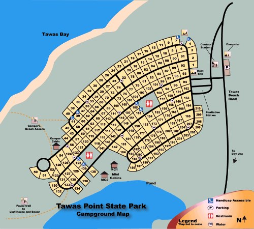 Tawas State Park Campground Map