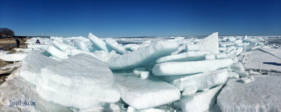 Blue Ice in Mackinac City Michigan