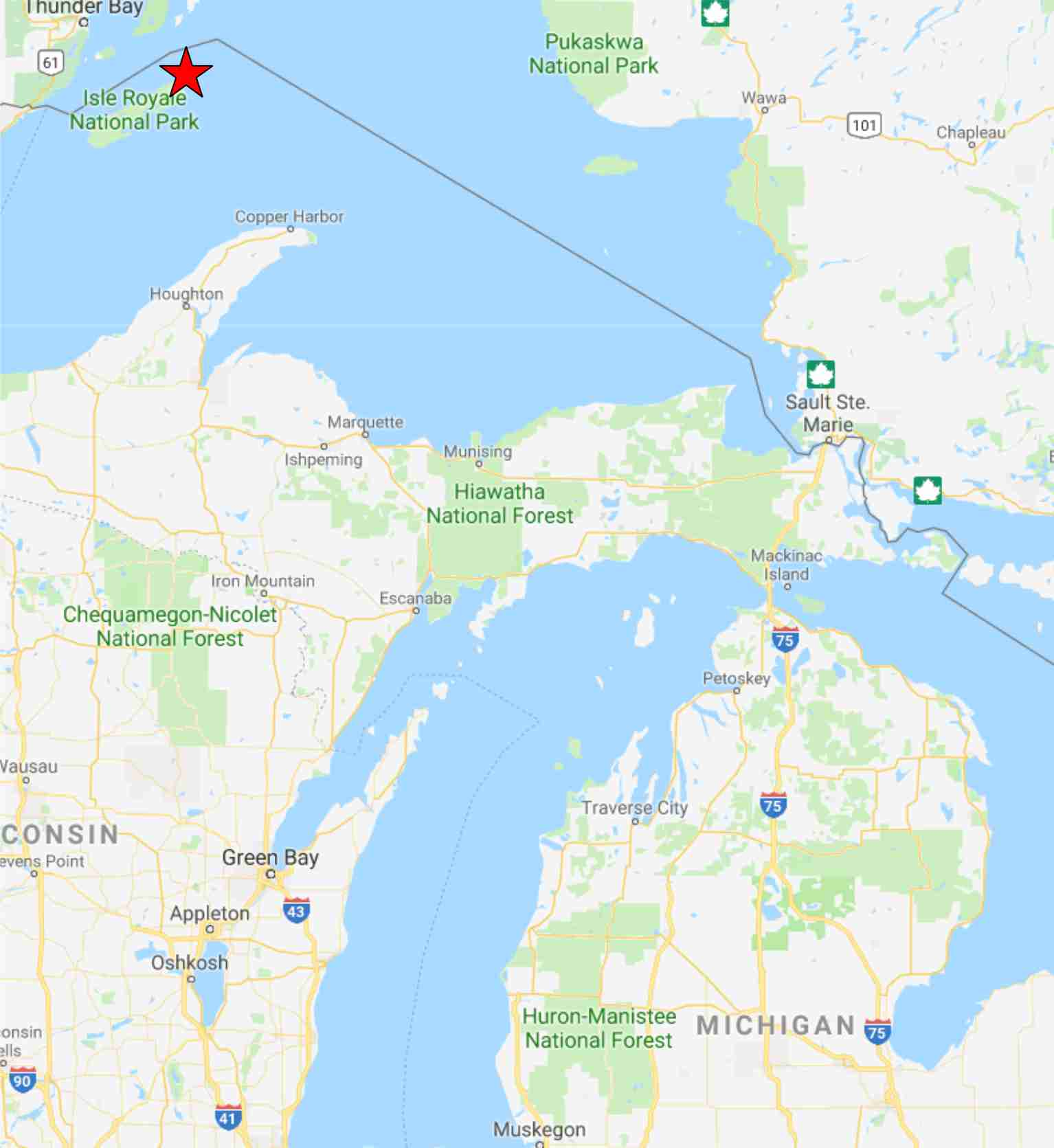 Map Location of Isle Royale National Park